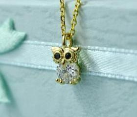 Cute CZ Owl Necklace