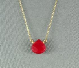 Beautiful Red Jade Heart Necklace, Natural Stone Bead, 14K Gold Filled Chain, also in Sterling Silver