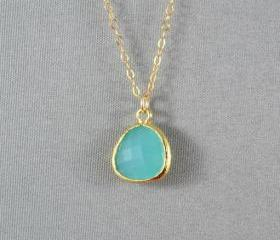 Aquamarine Glass Necklace, Gold Plated Bezel Charm, 14K Gold Filled Chain, Beautiful Necklace