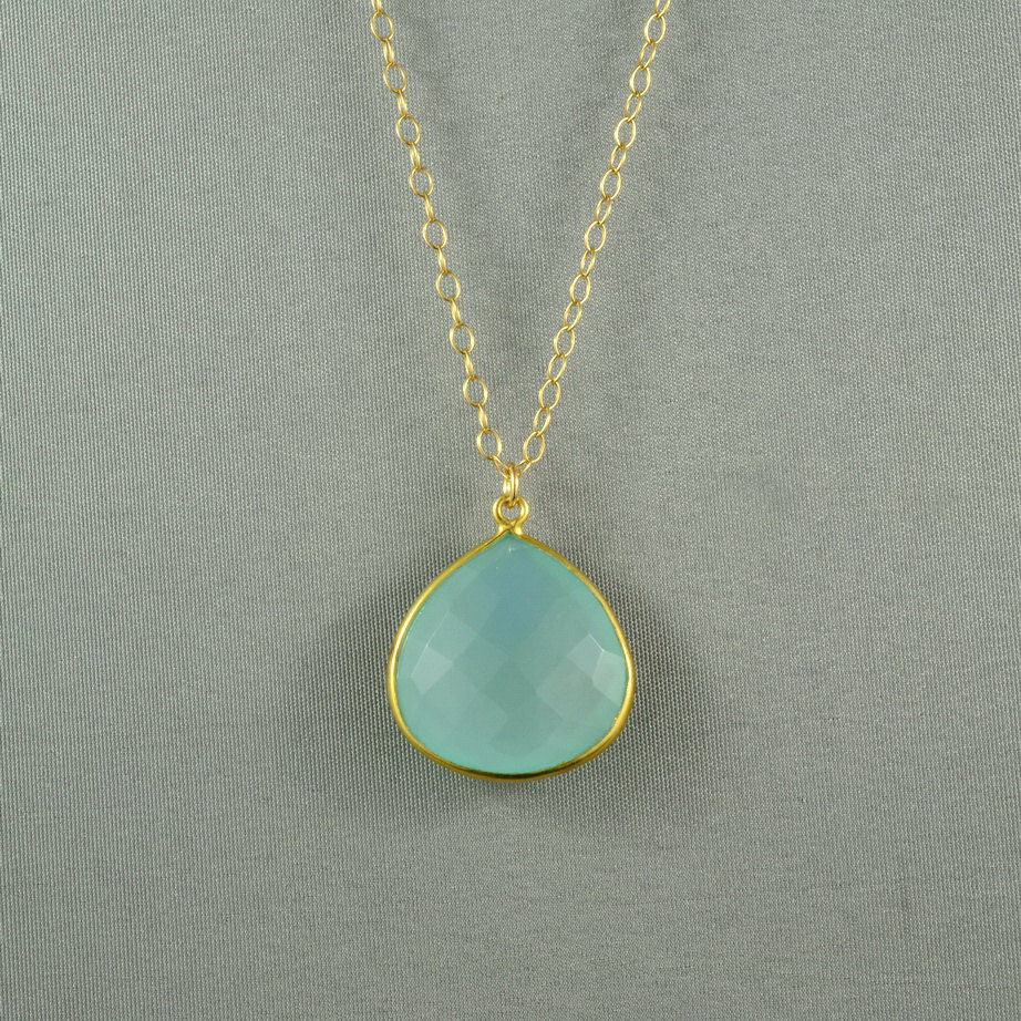beautiful chalcedony necklace aqua blue 24k gold