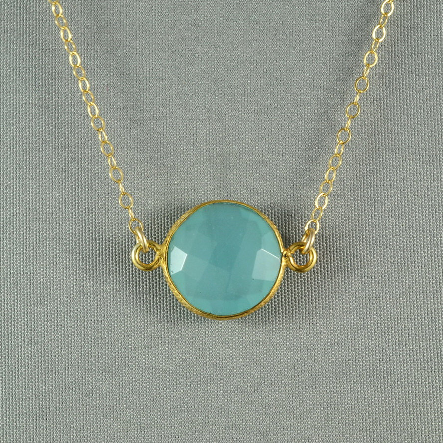 aqua blue chalcedony necklace 24k gold vermeil bezel 14k